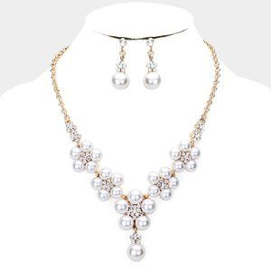 Gold Pearl Floral Rhinestone Drop Necklace